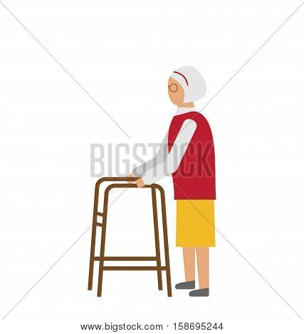 Illustration Old Disabled Woman Isolated on White Background. Cripple Female on Walker. Physiotherapy and Rehabilitation for Invalids - raster