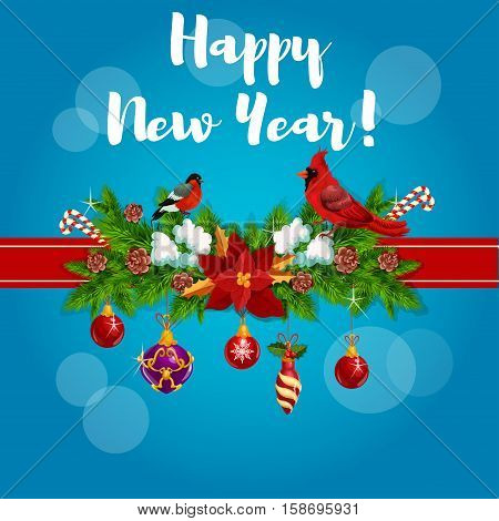 New Year greeting card, poster tied with red cardinal birds, ribbon and decorated with christmas holly, pine, fir garland bow, baubles and poinsettia star flower, bullfinch, candy canes