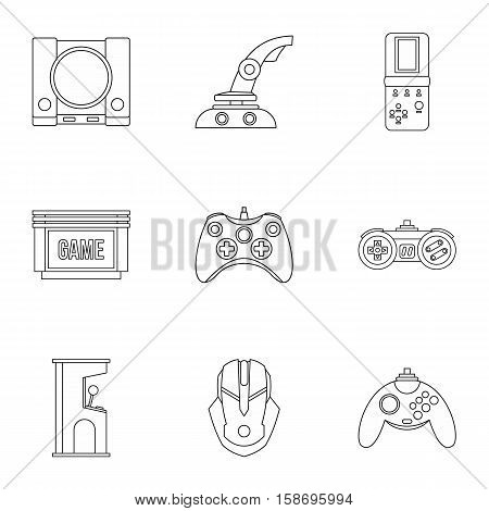 Computer games icons set. Outline illustration of 9 computer games vector icons for web