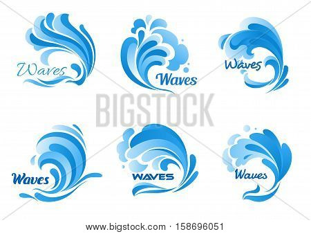 Waves vector isolated icons. Water ocean wave splash, tide water rollers, stormy curling, boiling and seething blue sea waves