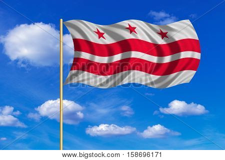 Flag of the District of Columbia. American patriotic element. USA banner. United States of America symbol. Washington D.C. official flag on flagpole waving in the wind sky background. Fabric texture. 3D rendered illustration