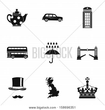 Tourism in United Kingdom icons set. Simple illustration of 9 tourism in United Kingdom vector icons for web