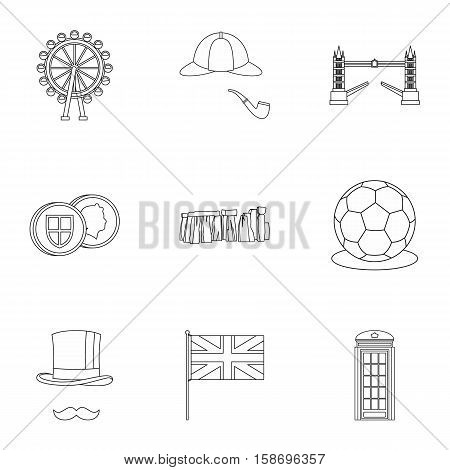 United Kingdom icons set. Outline illustration of 9 United Kingdom vector icons for web