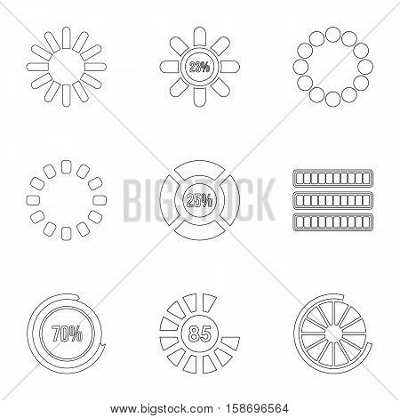 Download icons set. Outline illustration of 9 download vector icons for web