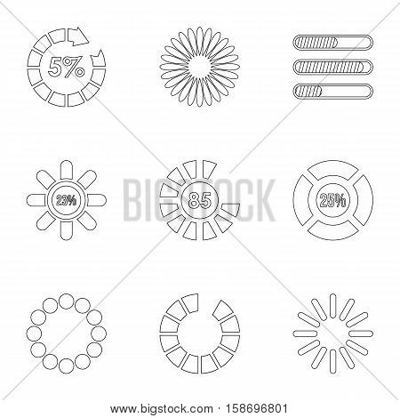 Loading and waiting icons set. Outline illustration of 9 loading and waiting vector icons for web