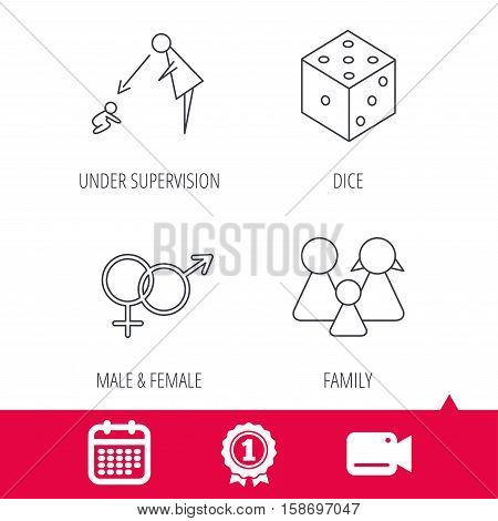 Achievement and video cam signs. Male, female, dice and family icons. Under supervision linear sign. Calendar icon. Vector