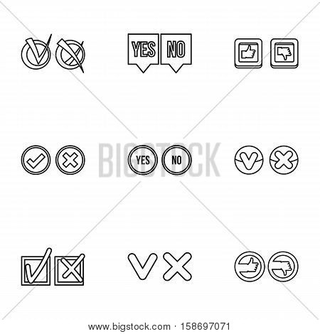 Choice icons set. Outline illustration of 9 choice vector icons for web