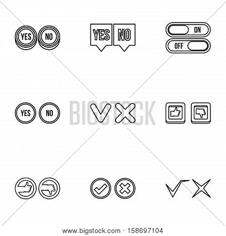 Click and selection icons set. Outline illustration of 9 click and selection vector icons for web