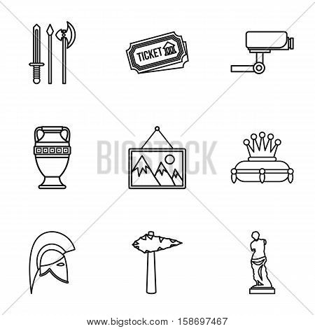 Stay in museum icons set. Outline illustration of 9 stay in museum vector icons for web