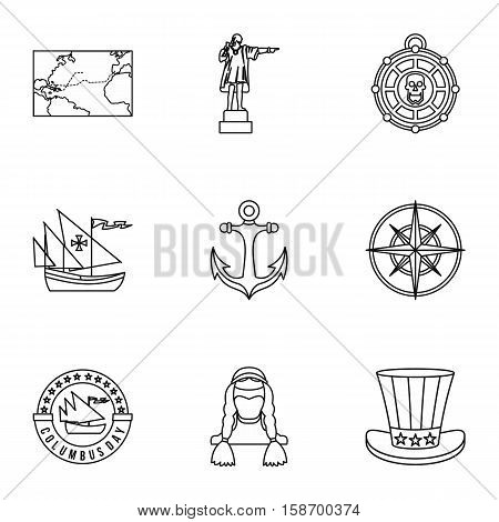 Geography icons set. Outline illustration of 9 geography vector icons for web