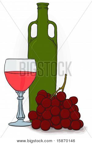 Drawing - Bottle And Glass Of Wine And Grapes