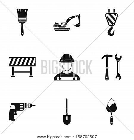 Repair icons set. Simple illustration of 9 repair vector icons for web