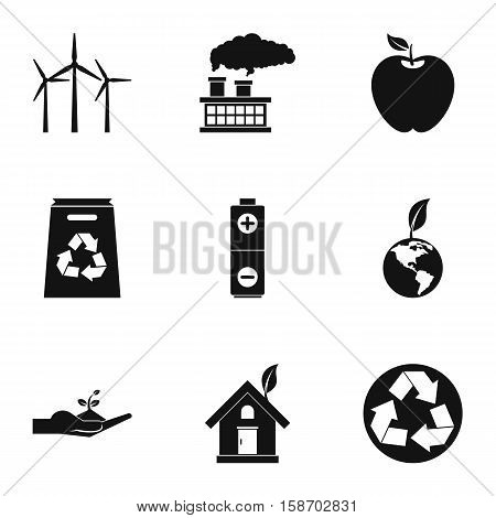 Environment icons set. Simple illustration of 9 environment vector icons for web