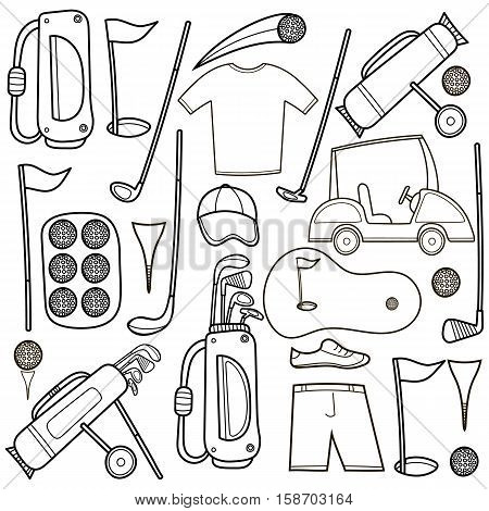 Golf icons set in hand draw cartoon style. Golf equipment set collection