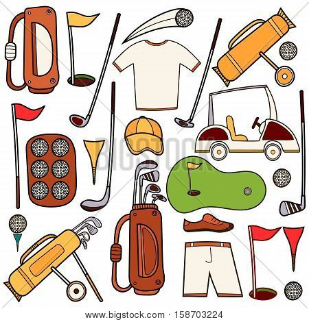 Golf color icons set in hand draw cartoon style. Golf equipment set collection