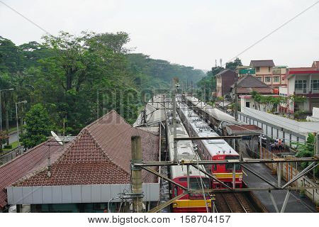 railway station after rain in depok indonesia photo