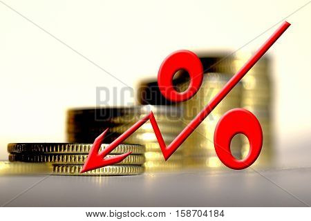 Рercent sign on a background of money . The concept of changes in Bank interest rates .