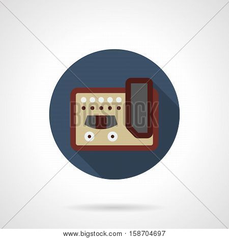 Abstract symbol of guitar stompbox. Over drive effect distortion pedals and amplifiers. Professional musical equipment and devices. Round blue flat design vector icon.