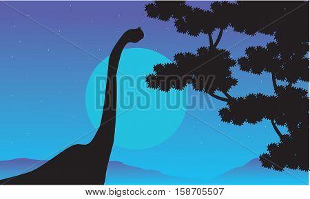 At night brachiosaurus scenery of silhouettes illustration