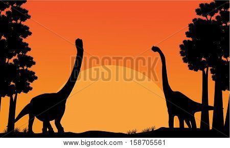 Silhouette of dinosaur brachiosaurus with orange sky scenery illustration