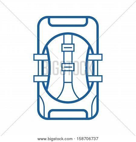 Large hiking backpack in thin line design. Tourist rucksack. Trekking backpack outline vector illustration. Hiking bag icon.