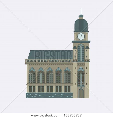 Europe catholic church vector illustration. Roman cathedral with dome and clock tower. Tourist religious landmark for maps and websites. Flat design cathedral isolated on white background.