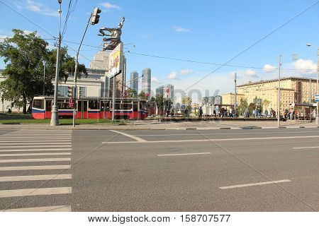 Russia, Moscow 25 May 2016, Tram rides on the street Boris Galushkina in Moscow