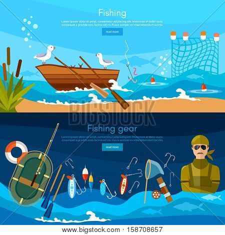 Professional fishing banners fisherman catches fish fishing rod hooks boat fish worms vector flat illustration