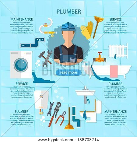 Professional plumber infographic plumbing service different tools and accessories pipe repair elimination of leaks. infographics call plumber