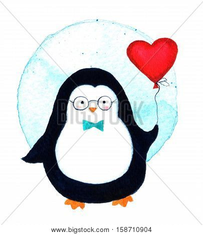 Cartoon penguin for babies and little kids. Cartoon penguin character. Beautiful template greeting card with penguin illustration. Watercolor illustration isolated on white background