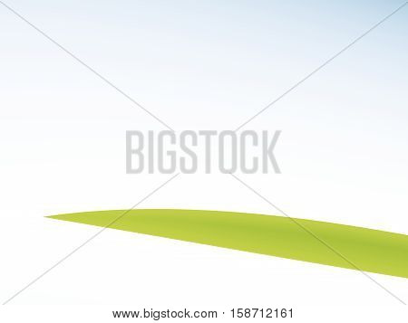 Single green blade of grass / leaf and blue white gradient fractal. Text space. For health wellness nature or beauty themed projects designs templates layouts leaflets pamphlets book covers...