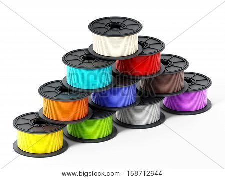 3D printer filaments isolated on white background. 3D illustration.