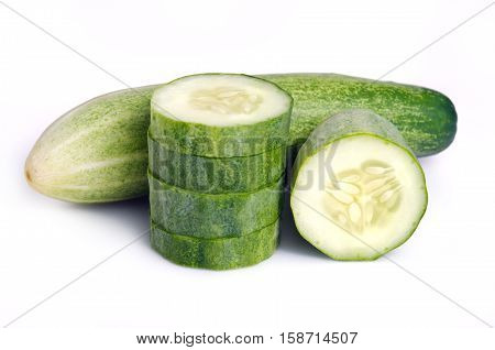 Fresh Cucumber Isolated On White Background