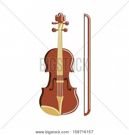 Isolated violin on white background. Musical instrument. Element of orchestra.