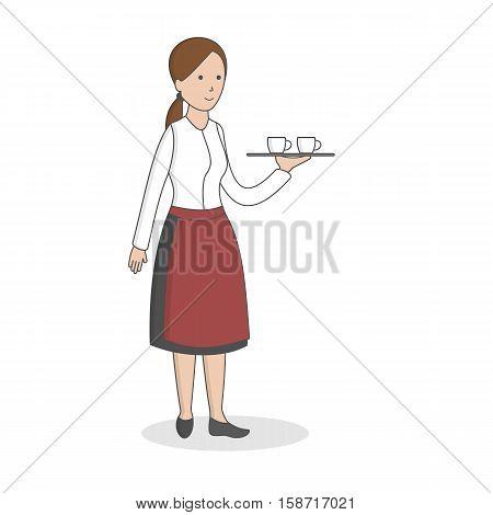 Isolated professional waiter. Female waiter in uniform with dish.