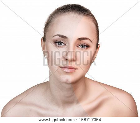 Comparison portrait of young woman before and after retouch over white background
