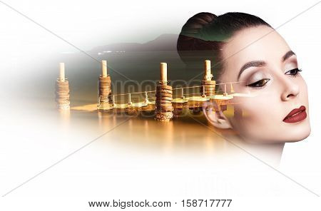 Double exposure of beautiful young woman and night pier over white background