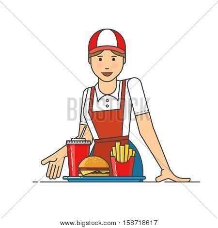Restaurant worker serving fast food meals. Girl suggests to get the order at restaurant.
