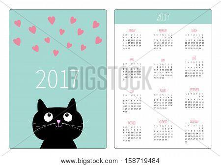 Pocket calendar 2017 year. Week starts Sunday. Flat design Vertical orientation Template. Cute cartoon black cat looking on pink heart set. Kitty meou. Love Blue background. Vector illustration