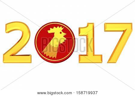Concept: Year 2017. Year of the Rooster according to Chinese zodiac isolated on white background. 3D rendering.