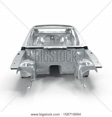 Front view Carcass af a sedan car on white background. 3D illustration