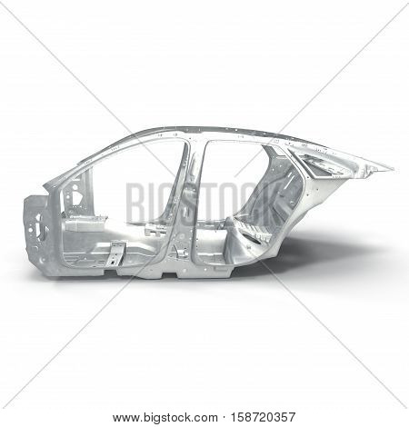 Side view Skeleton of a car on white background. 3D illustration