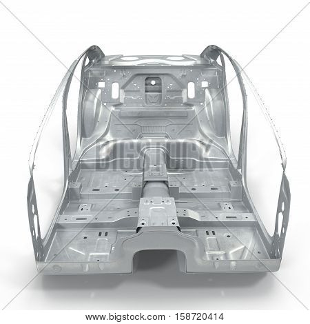 Front view Sedan without cover on white background. 3D illustration