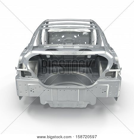 Back view Car Frame without Chassis on white background. 3D illustration