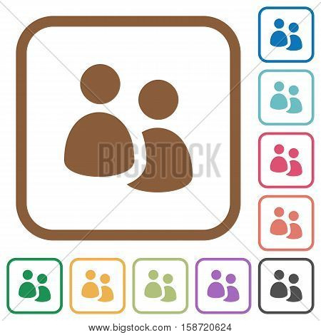 User group simple icons in color rounded square frames on white background