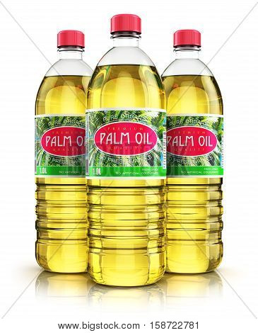 3D render illustration of the group of three plastic bottles with yellow refined vegetable palm cooking oil or organic fat isolated on white background with reflection effect