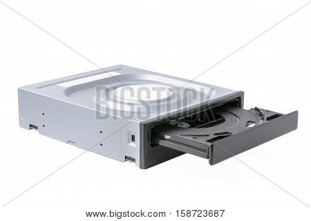 opened drive CD - DVD - Blu Ray with a black cap on a white background CD-ROM DVD-ROM BD-ROM