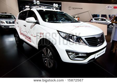 Moscow, Russia - August 25:  White Jeep Car Kia Sportage At Moscow International Exhibition Interaut