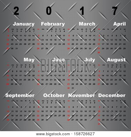 Business vector template of 2017 calendar on metal grey background stock vector