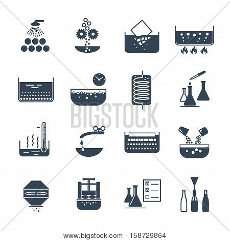 set of black icons manufacture of beverages production process